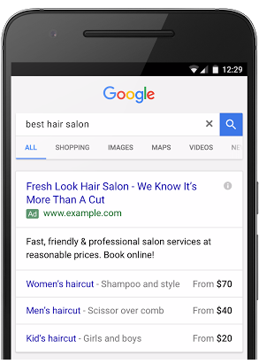 Mobile phone showing search results and adwords new price extensions feature